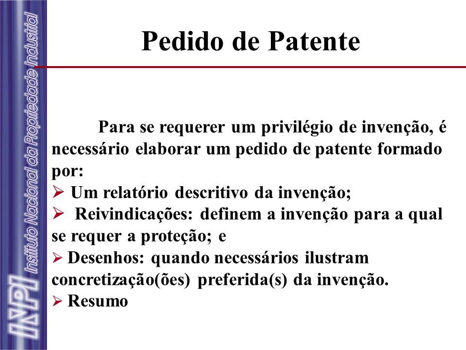 Pedido de Patente Para se requerer um privilégio de invenção, é necessário elaborar um pedido de patente formado por: