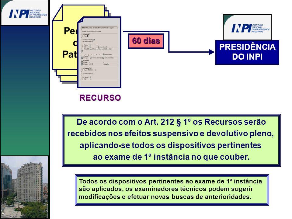 Pedido de Patente 60 dias PRESIDÊNCIA DO INPI RECURSO