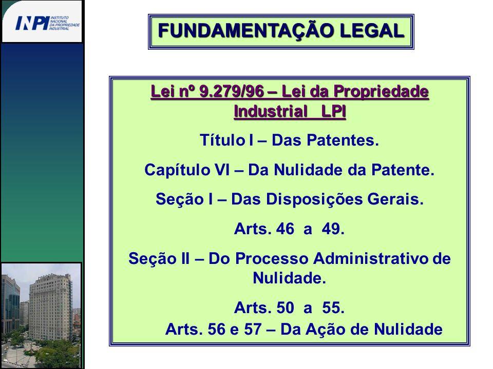 FUNDAMENTAÇÃO LEGAL Lei nº 9.279/96 – Lei da Propriedade Industrial LPI. Título I – Das Patentes.