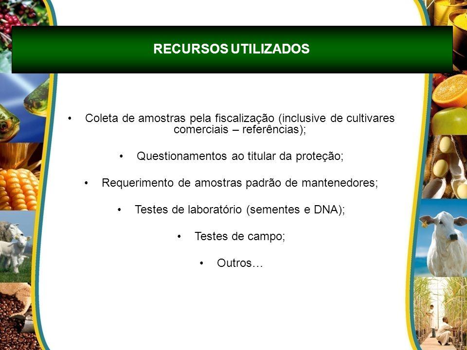 RECURSOS UTILIZADOS Coleta de amostras pela fiscalização (inclusive de cultivares comerciais – referências);