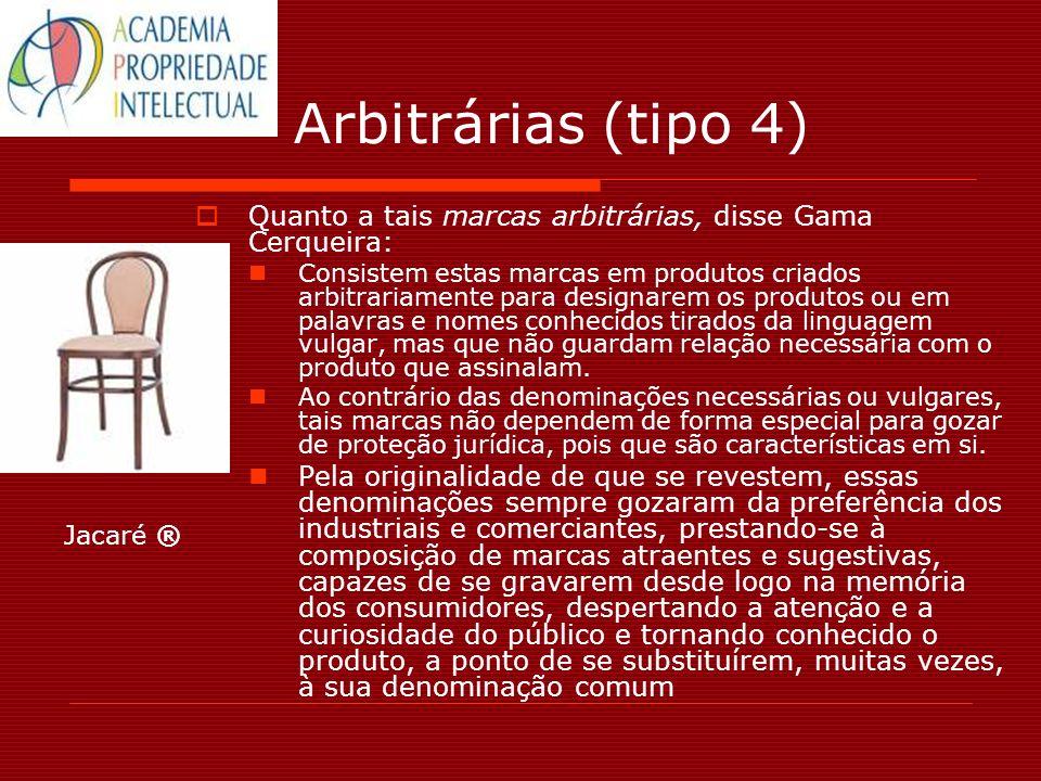 Arbitrárias (tipo 4) Quanto a tais marcas arbitrárias, disse Gama Cerqueira: