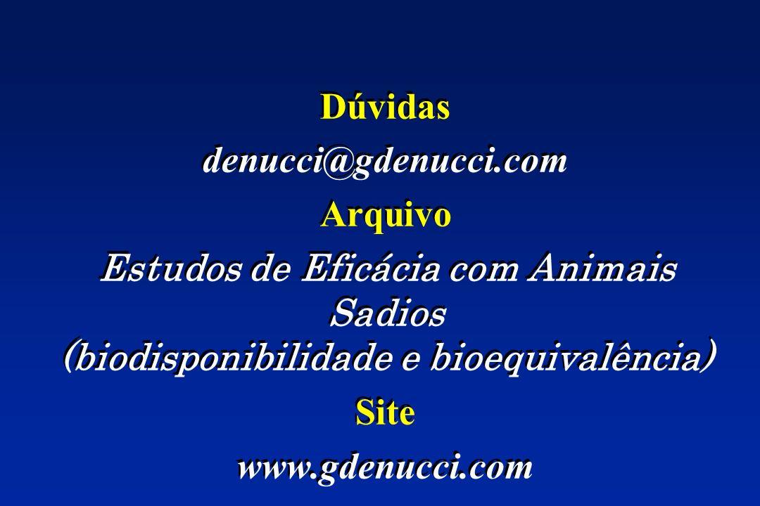 Dúvidas denucci@gdenucci.com. Arquivo. Estudos de Eficácia com Animais Sadios (biodisponibilidade e bioequivalência)