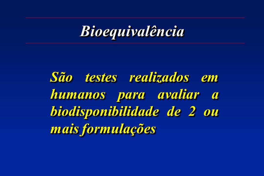 Bioequivalência São testes realizados em humanos para avaliar a biodisponibilidade de 2 ou mais formulações.
