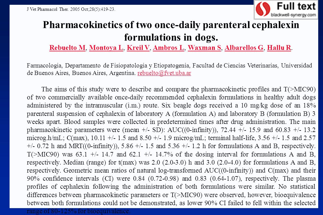 J Vet Pharmacol Ther. 2005 Oct;28(5):419-23.