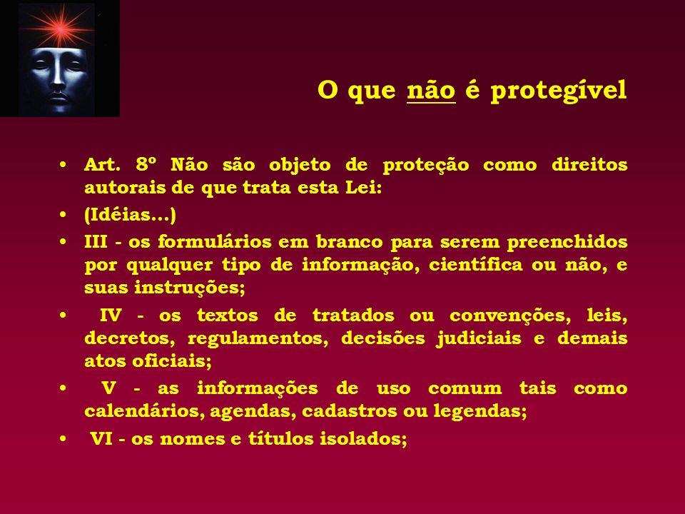 O que não é protegível Art. 8º Não são objeto de proteção como direitos autorais de que trata esta Lei: