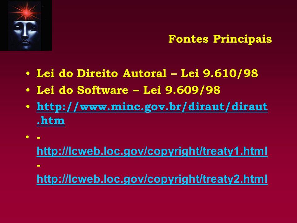 Fontes Principais Lei do Direito Autoral – Lei 9.610/98. Lei do Software – Lei 9.609/98. http://www.minc.gov.br/diraut/diraut.htm.