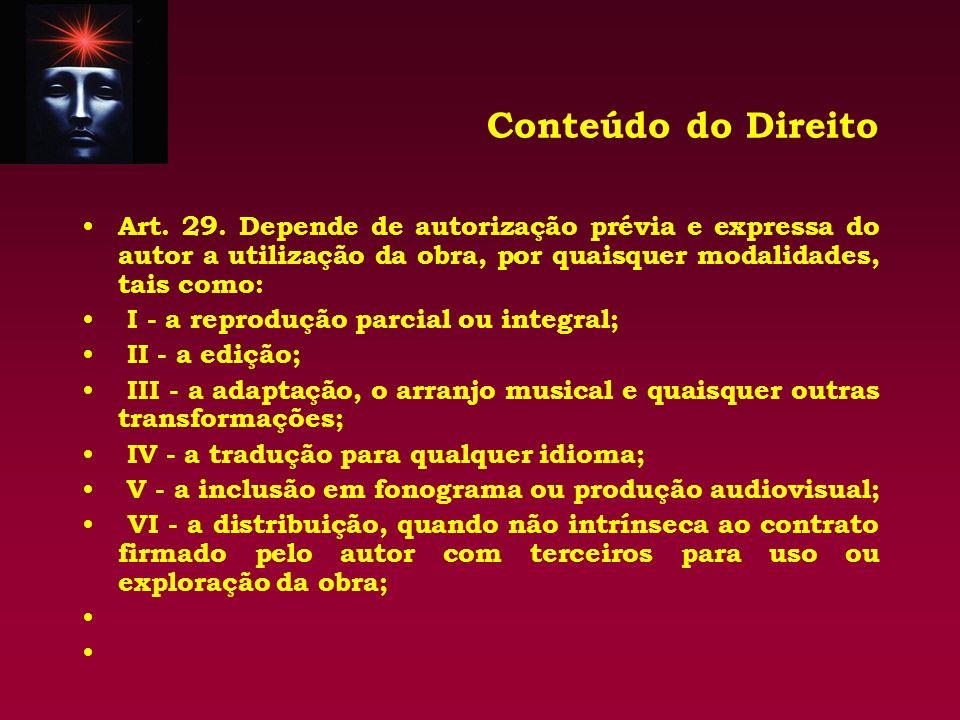 Conteúdo do Direito Art. 29. Depende de autorização prévia e expressa do autor a utilização da obra, por quaisquer modalidades, tais como: