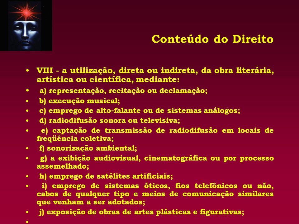Conteúdo do Direito VIII - a utilização, direta ou indireta, da obra literária, artística ou científica, mediante: