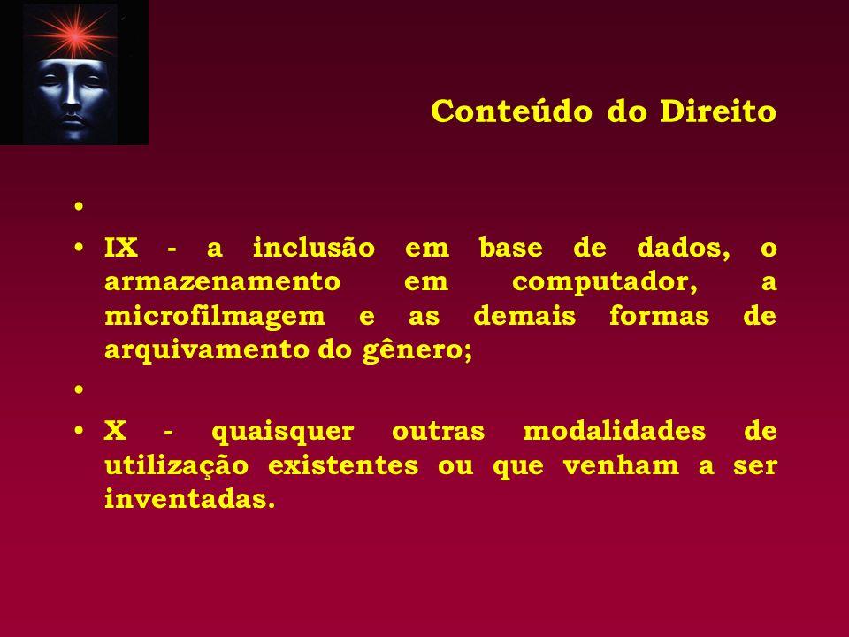 Conteúdo do Direito IX - a inclusão em base de dados, o armazenamento em computador, a microfilmagem e as demais formas de arquivamento do gênero;