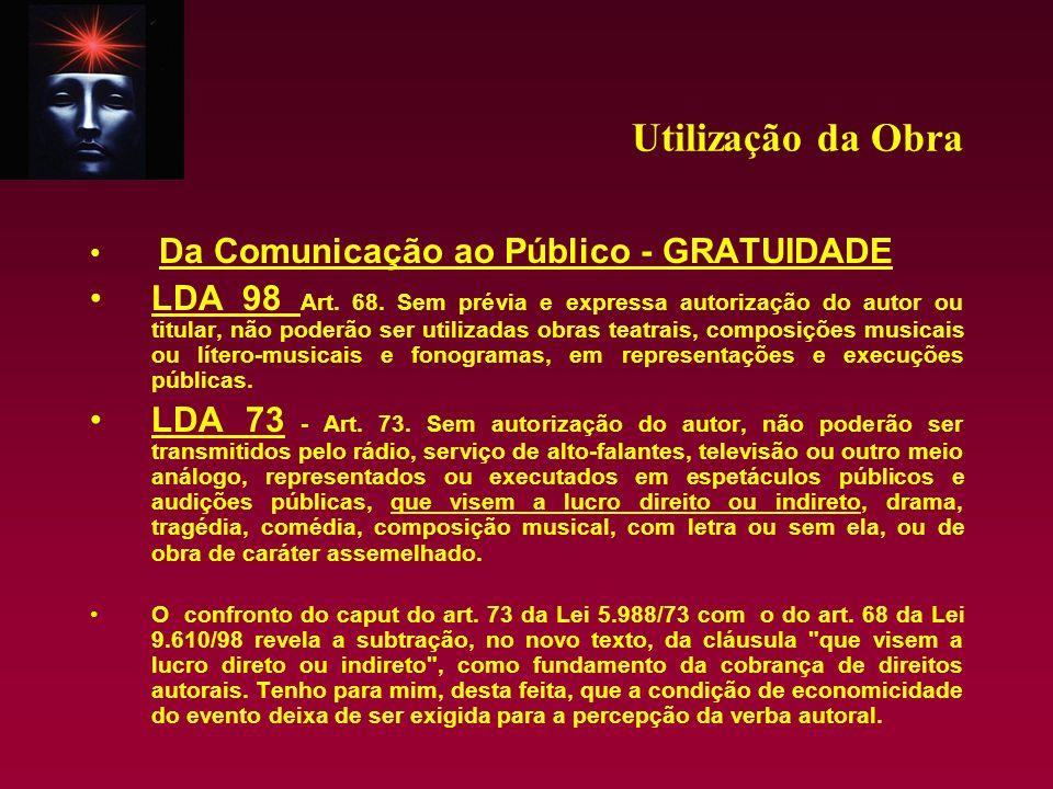 Utilização da Obra Da Comunicação ao Público - GRATUIDADE.