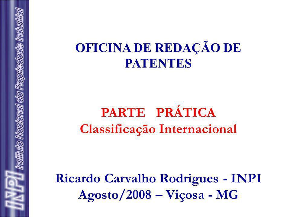 Classificação Internacional Ricardo Carvalho Rodrigues - INPI
