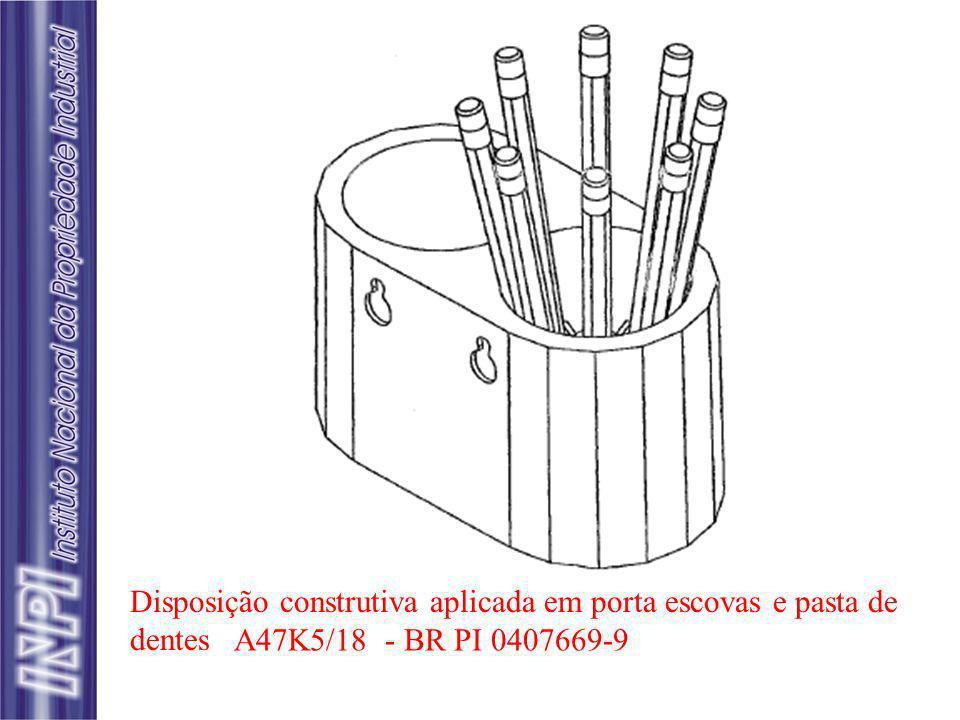 Disposição construtiva aplicada em porta escovas e pasta de dentes