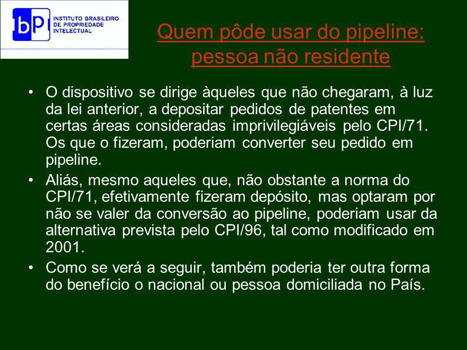 Quem pôde usar do pipeline: pessoa não residente