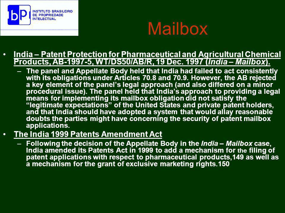 MailboxIndia – Patent Protection for Pharmaceutical and Agricultural Chemical Products, AB-1997-5, WT/DS50/AB/R, 19 Dec. 1997 (India – Mailbox).