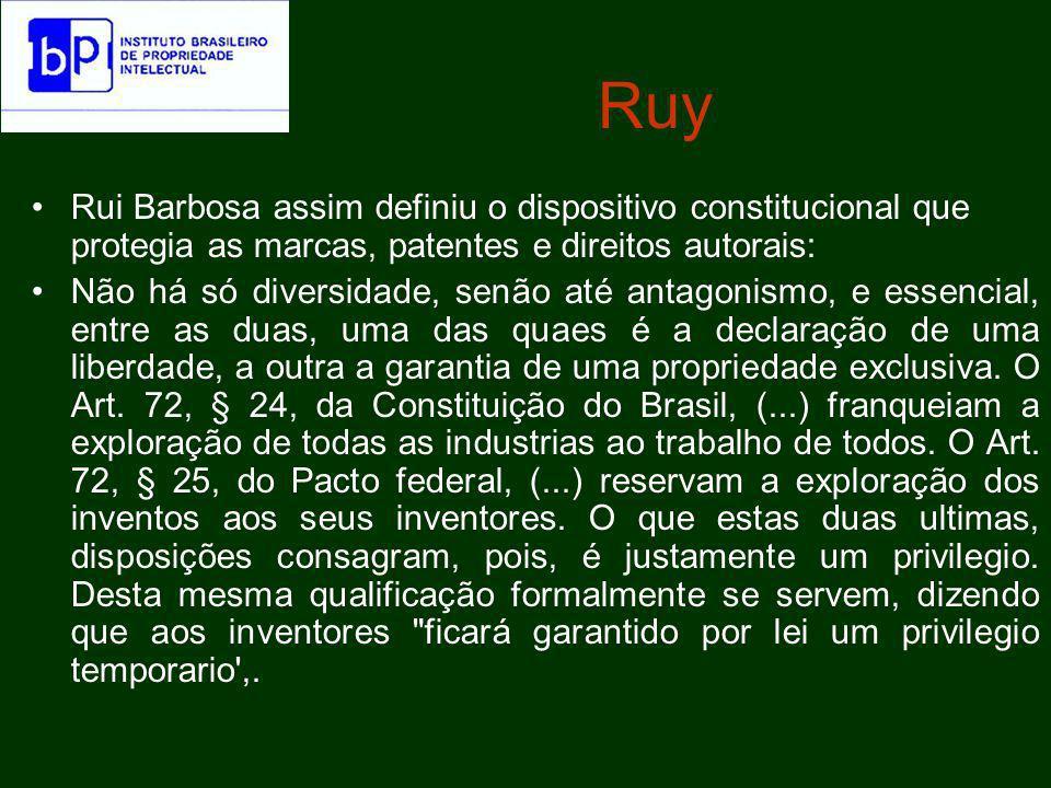 Ruy Rui Barbosa assim definiu o dispositivo constitucional que protegia as marcas, patentes e direitos autorais: