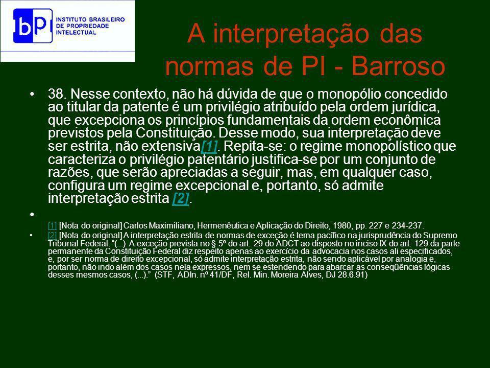 A interpretação das normas de PI - Barroso