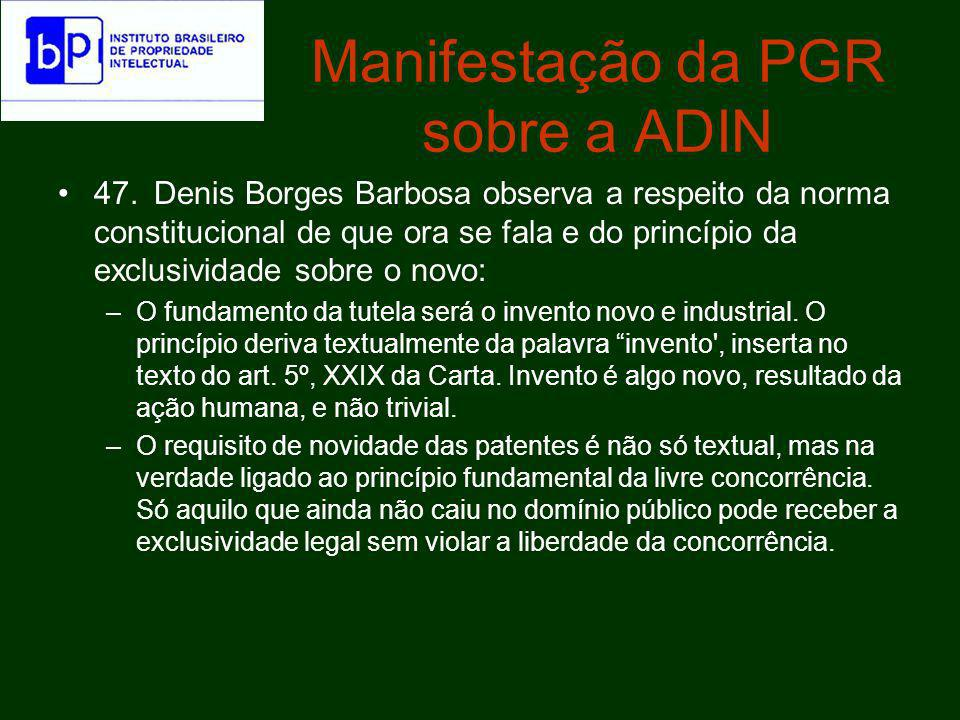 Manifestação da PGR sobre a ADIN
