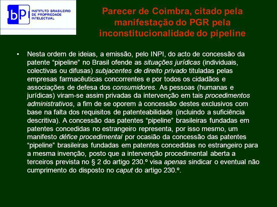 Parecer de Coimbra, citado pela manifestação do PGR pela inconstitucionalidade do pipeline