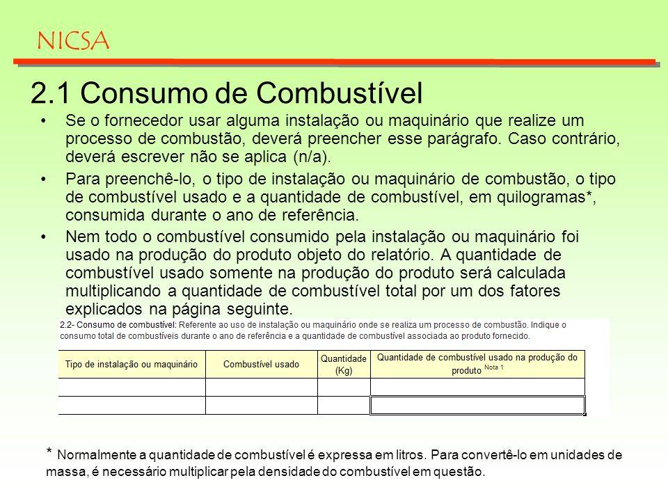 2.1 Consumo de Combustível