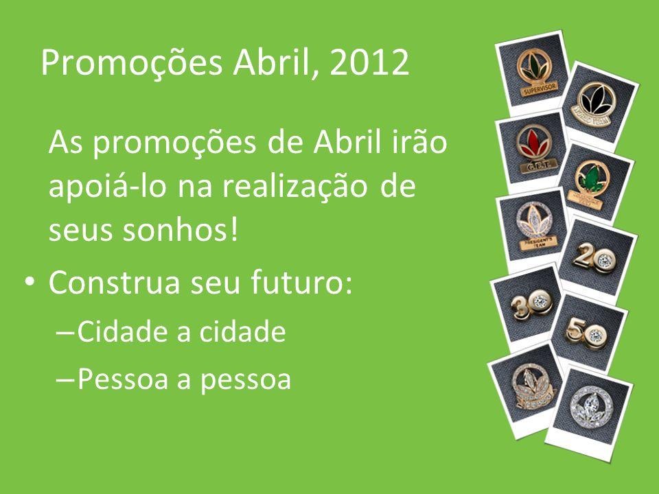 Promoções Abril, 2012 As promoções de Abril irão apoiá-lo na realização de seus sonhos! Construa seu futuro: