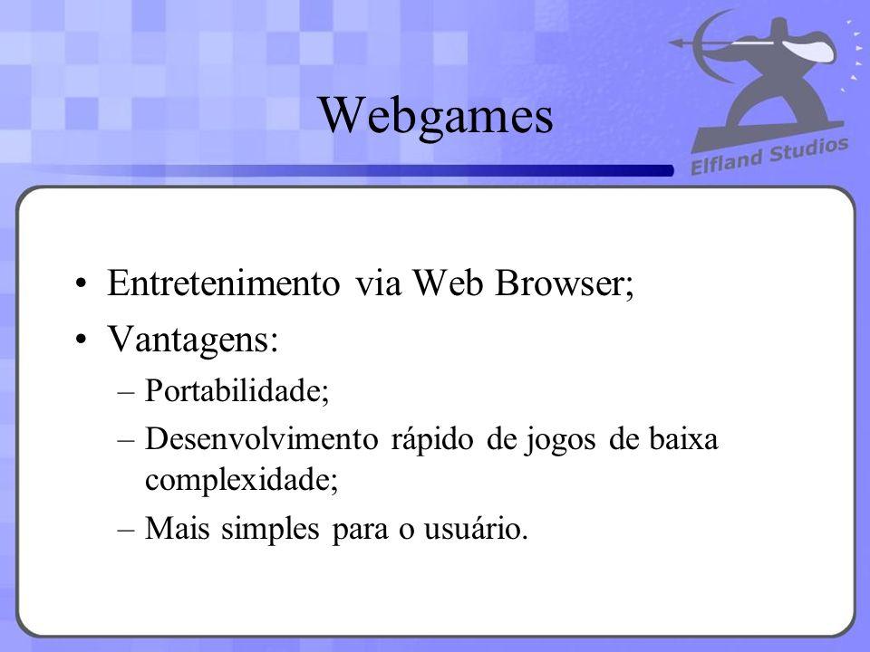 Webgames Entretenimento via Web Browser; Vantagens: Portabilidade;