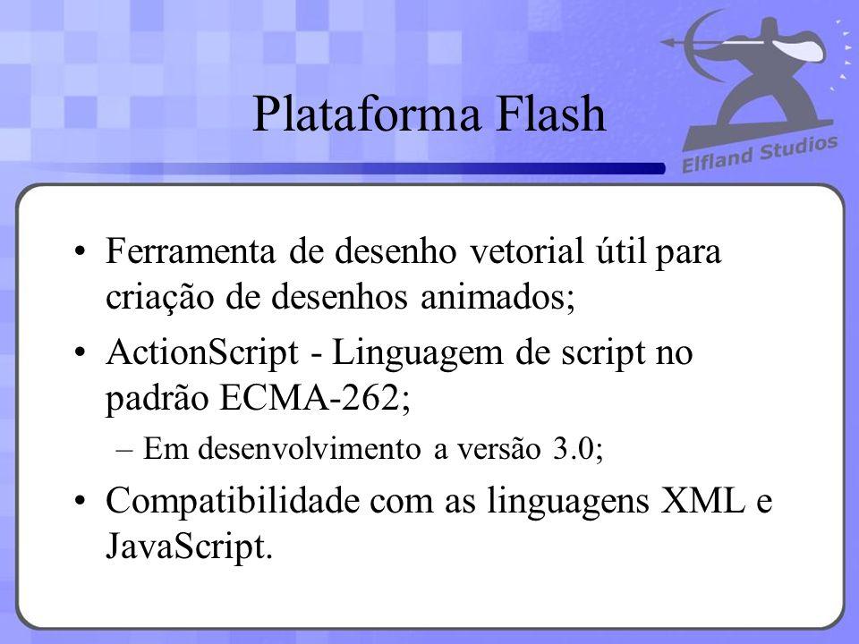 Plataforma Flash Ferramenta de desenho vetorial útil para criação de desenhos animados; ActionScript - Linguagem de script no padrão ECMA-262;