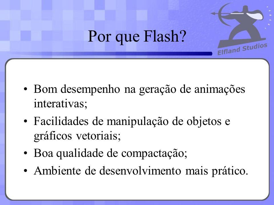 Por que Flash Bom desempenho na geração de animações interativas;