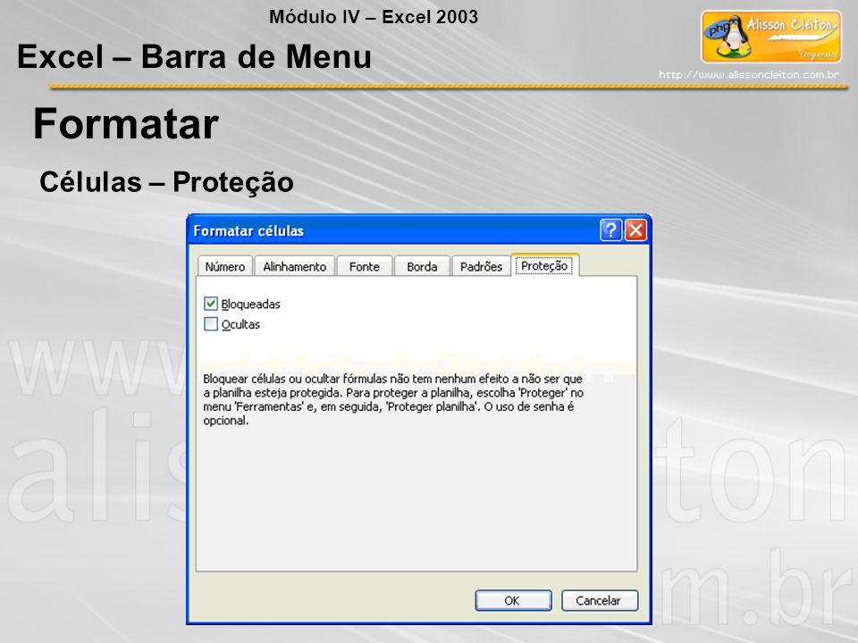 Formatar Excel – Barra de Menu Células – Proteção