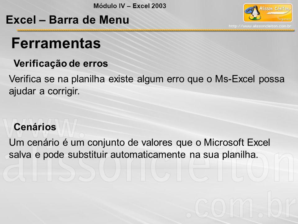 Ferramentas Excel – Barra de Menu Verificação de erros