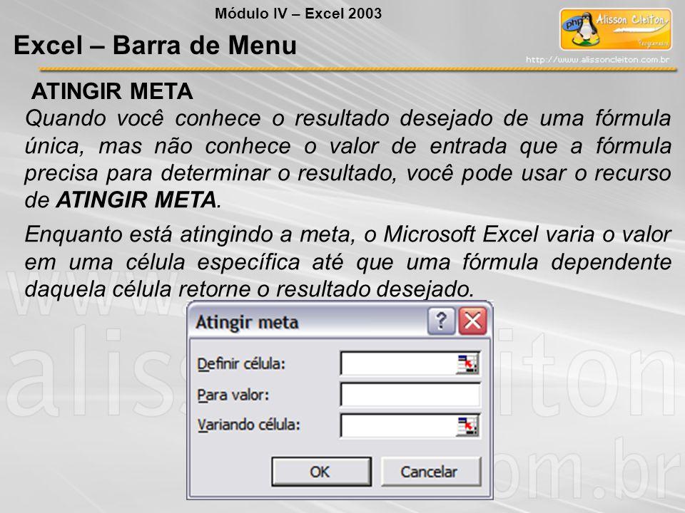 Excel – Barra de Menu ATINGIR META