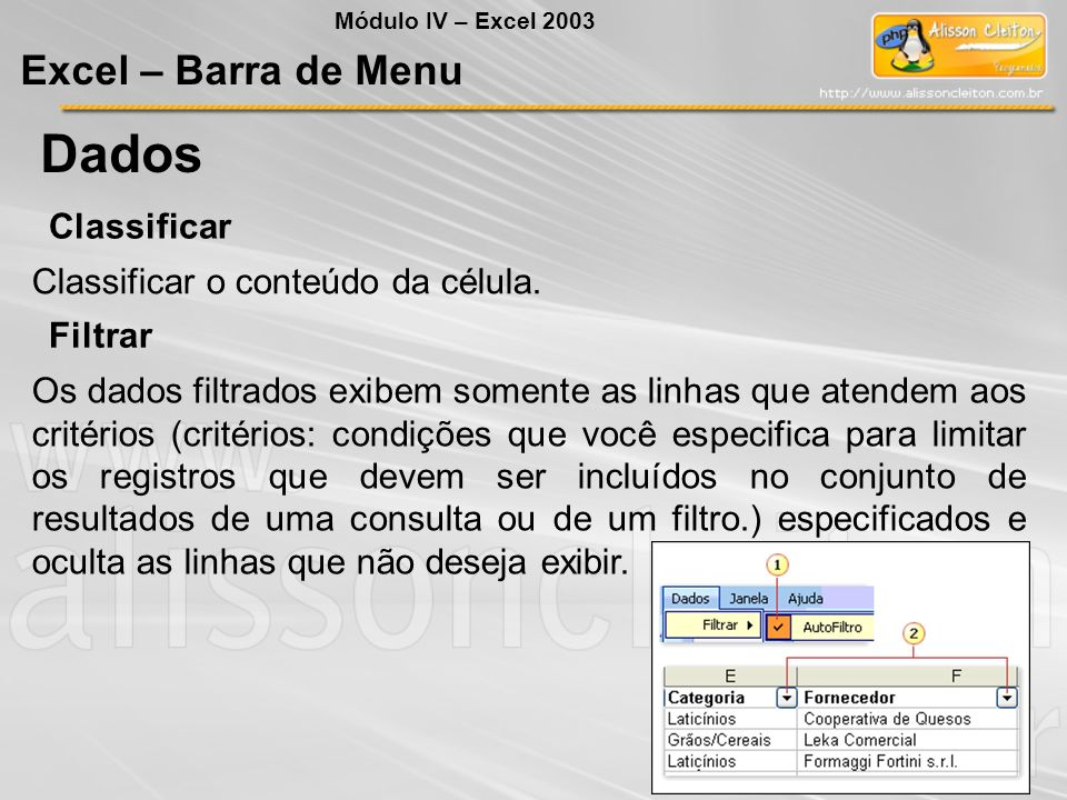 Dados Excel – Barra de Menu Classificar