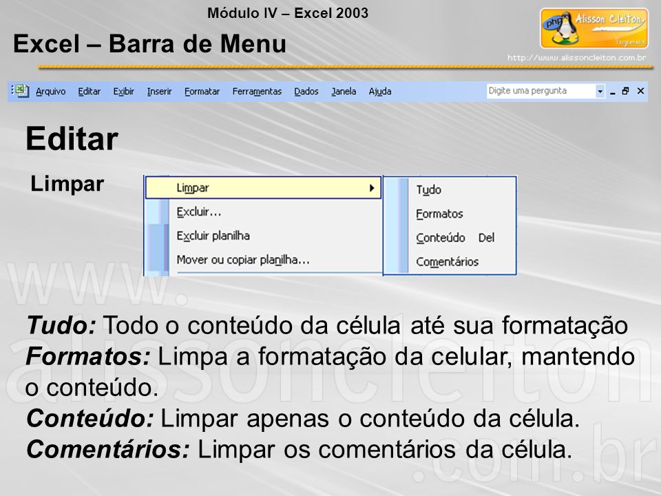 Editar Excel – Barra de Menu