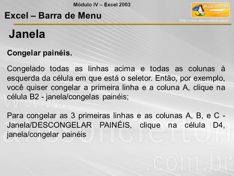 Janela Excel – Barra de Menu Congelar painéis.
