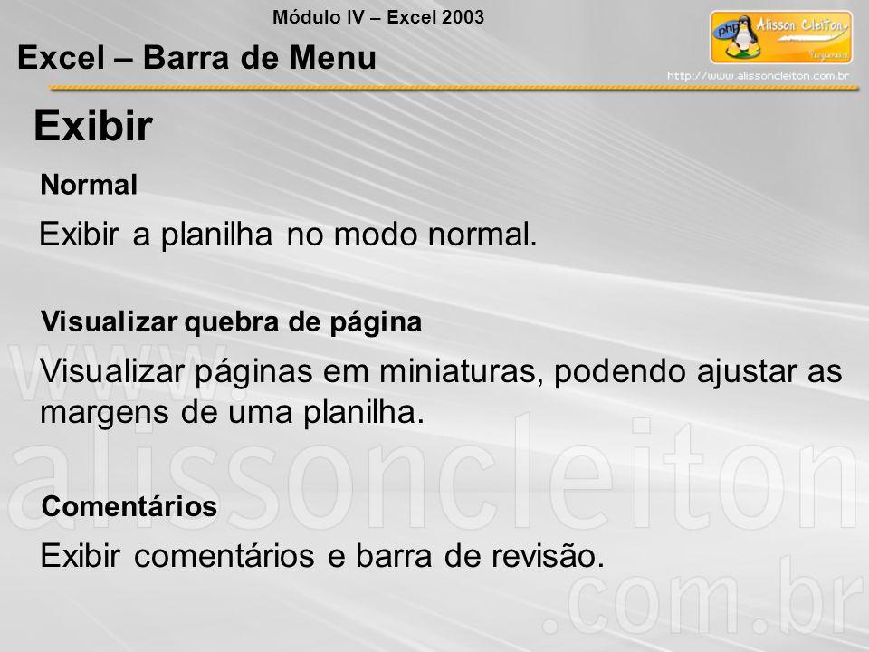 Exibir Excel – Barra de Menu Exibir a planilha no modo normal.