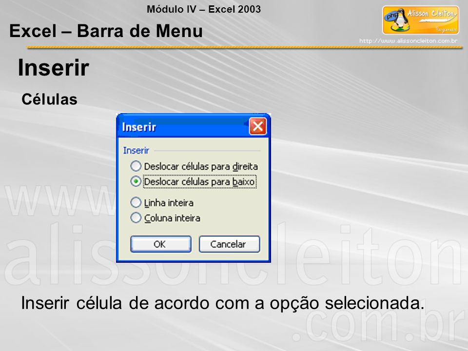 Inserir Excel – Barra de Menu