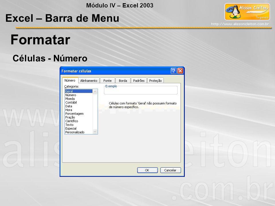 Módulo IV – Excel 2003 Excel – Barra de Menu Formatar Células - Número