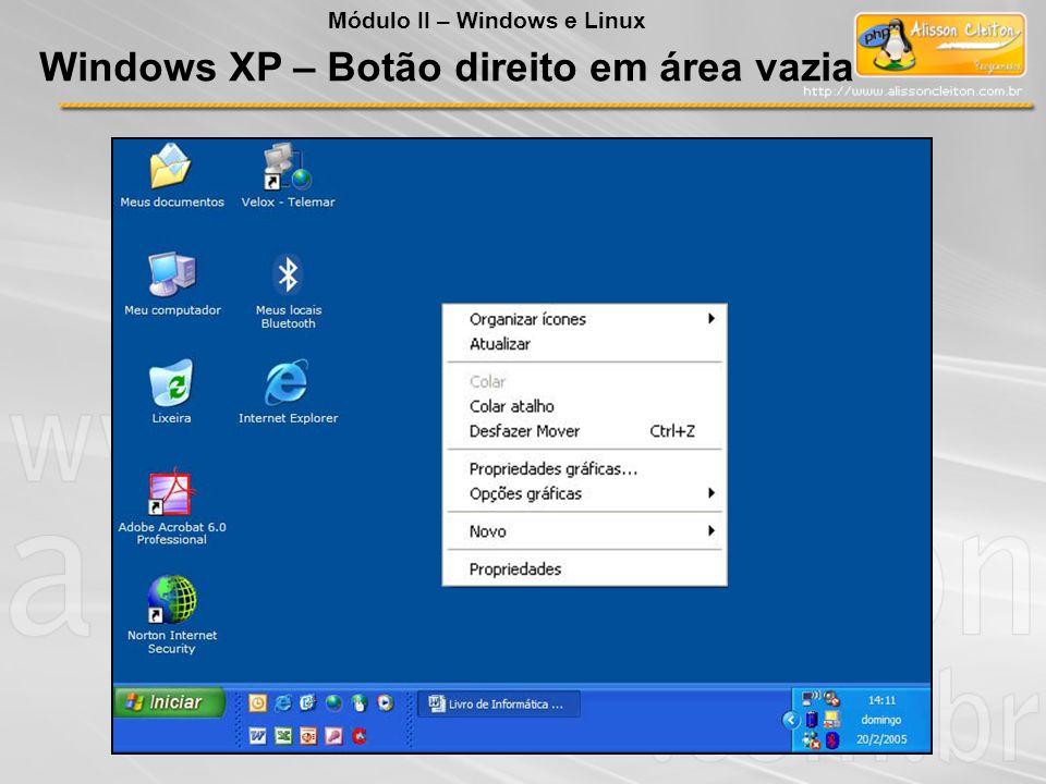 Windows XP – Botão direito em área vazia