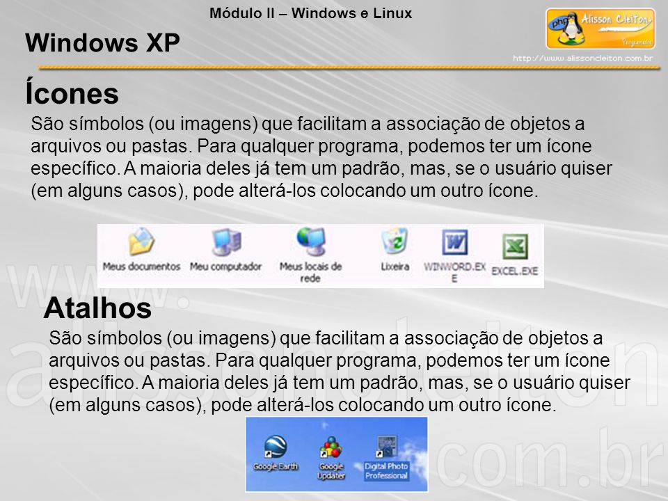 Ícones Atalhos Windows XP