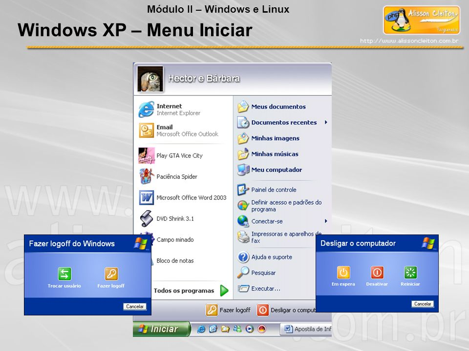 Windows XP – Menu Iniciar
