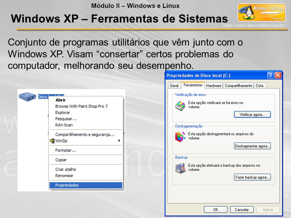 Windows XP – Ferramentas de Sistemas