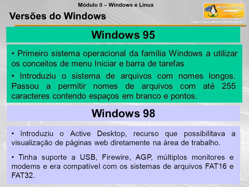 Windows 95 Windows 98 Versões do Windows Versões do Windows