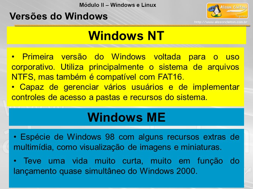 Windows NT Windows ME Versões do Windows