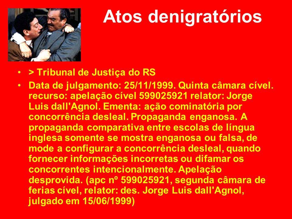 Atos denigratórios > Tribunal de Justiça do RS