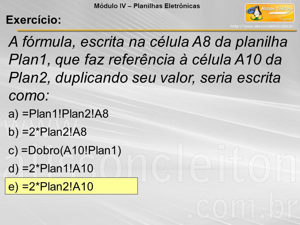 Módulo IV – Planilhas Eletrônicas