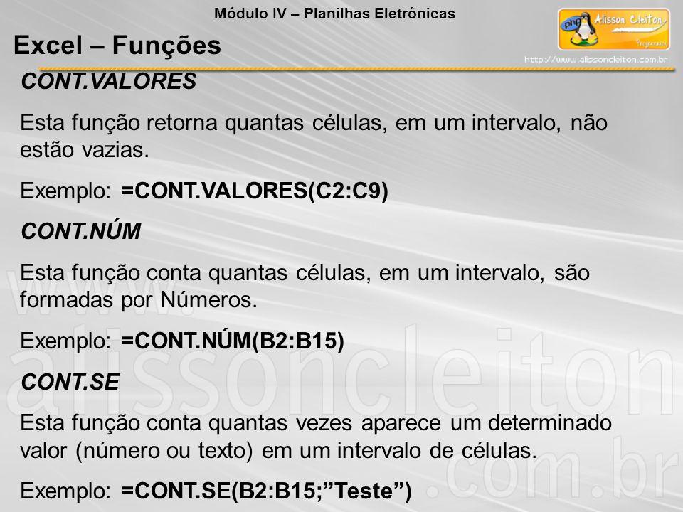 Excel – Funções CONT.VALORES