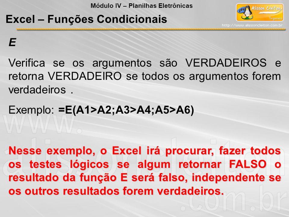 Excel – Funções Condicionais