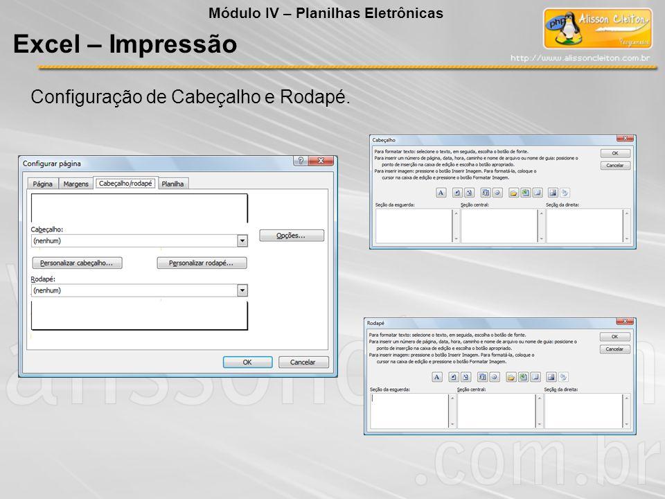 Excel – Impressão Configuração de Cabeçalho e Rodapé.