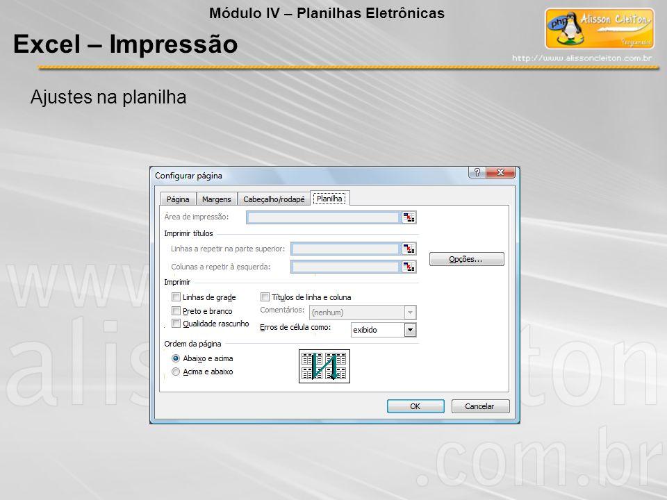 Excel – Impressão Ajustes na planilha