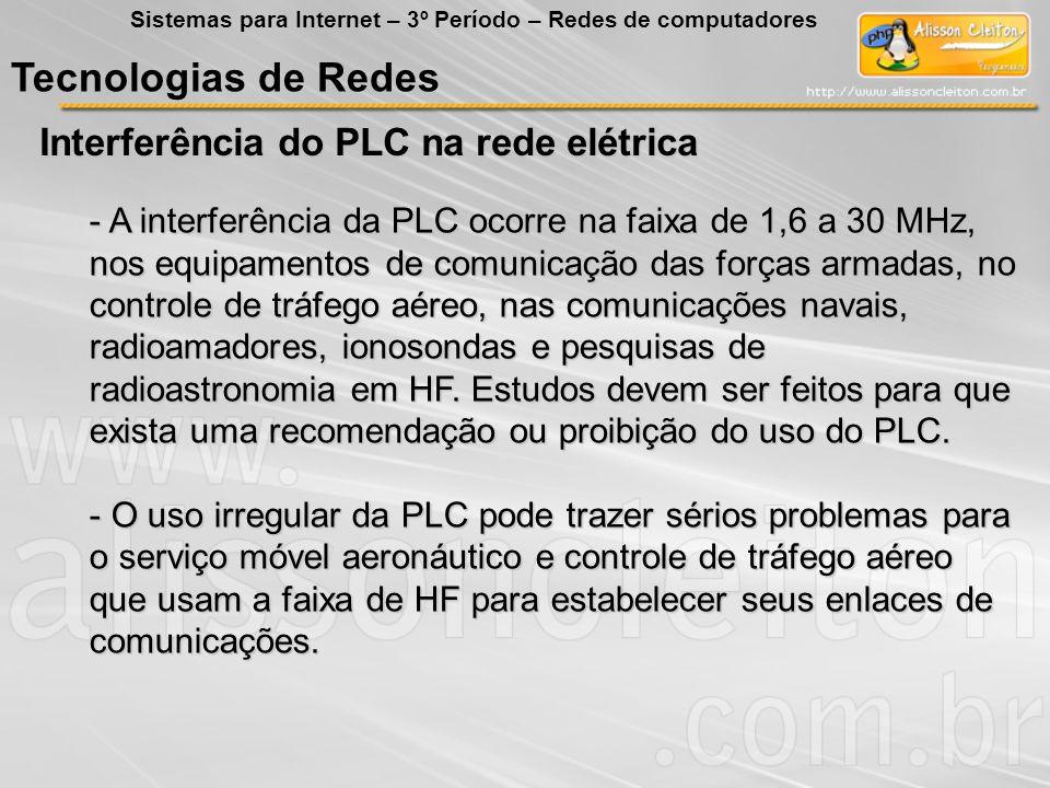Tecnologias de Redes Interferência do PLC na rede elétrica
