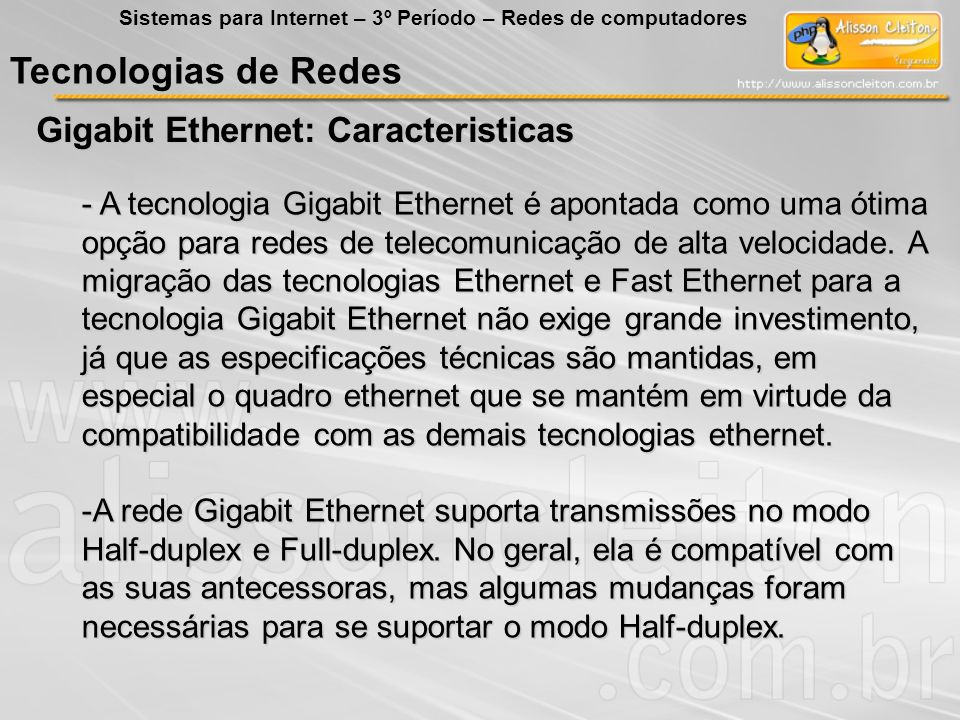 Tecnologias de Redes Gigabit Ethernet: Caracteristicas